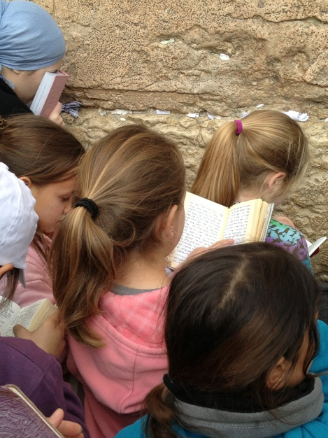 Young girls praying at the Western Wall