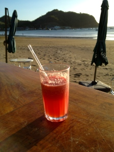 Watermelon smoothie on the beach