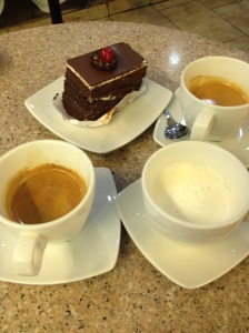 For 2 double espressos and cake we can spend as much as 2 lunches!