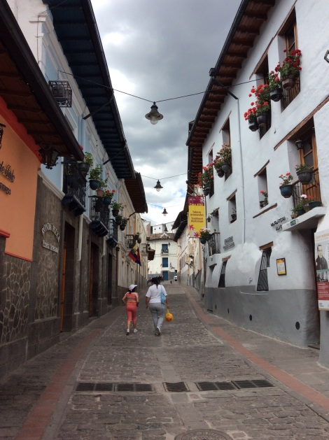 This is La Ronda, the oldest neighborhood of Old Quito.