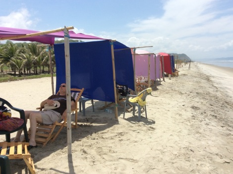 The beach at Canoa. Very hot and windy, but the wind and the shade made it just bearable.