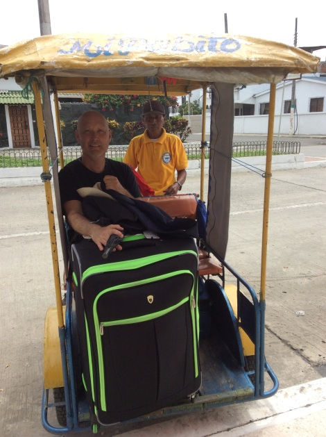 We moved all our stuff from one hostel to a hotel by bicycle-taxi in Bahia!  Poor guy!