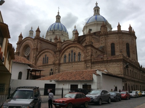 The iconic blue domes of Cuenca's cathedral