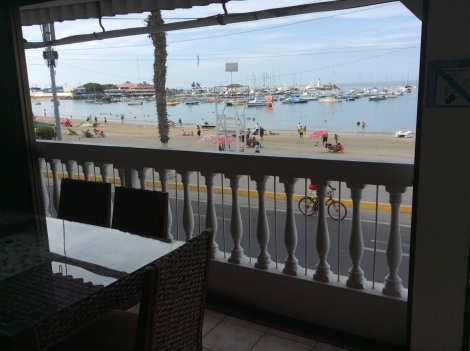 Our view from the hostel's common area balcony overlooking the beach and Malecon in Salinas.